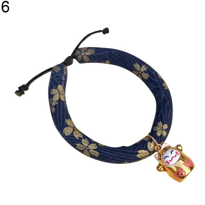 Chat Porte-bonheur Pendentif Mode Tissu Coton Réglable Doux Pet Chien Collier Chiot 6 # S