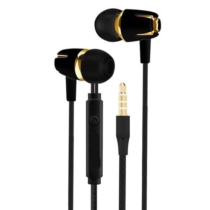 Écouteurs Intra-auriculaire Avec Mousse À Mémoire De Forme Microphone 3.5mm Basse Filaire Stéréo-noir