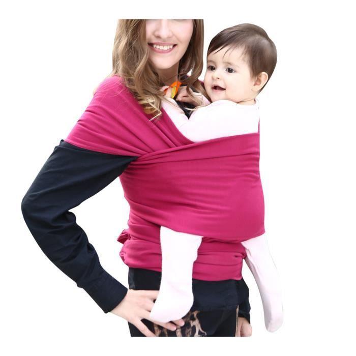 6b296c55330 Écharpe de portage pour porter bébé porte kangourou baby carrier Sac à dos  Porte Bébé en coton élastique tabouret bébé-Rose Rouge