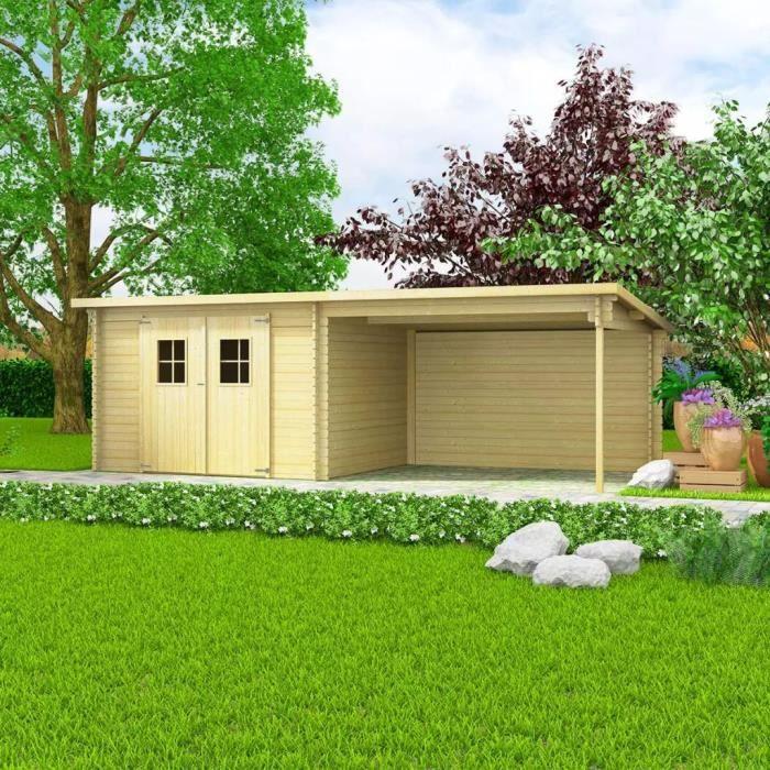 Abri de Jardin en Rondins Bois Massif 28 mm 6,3 x 3 m - Achat ...