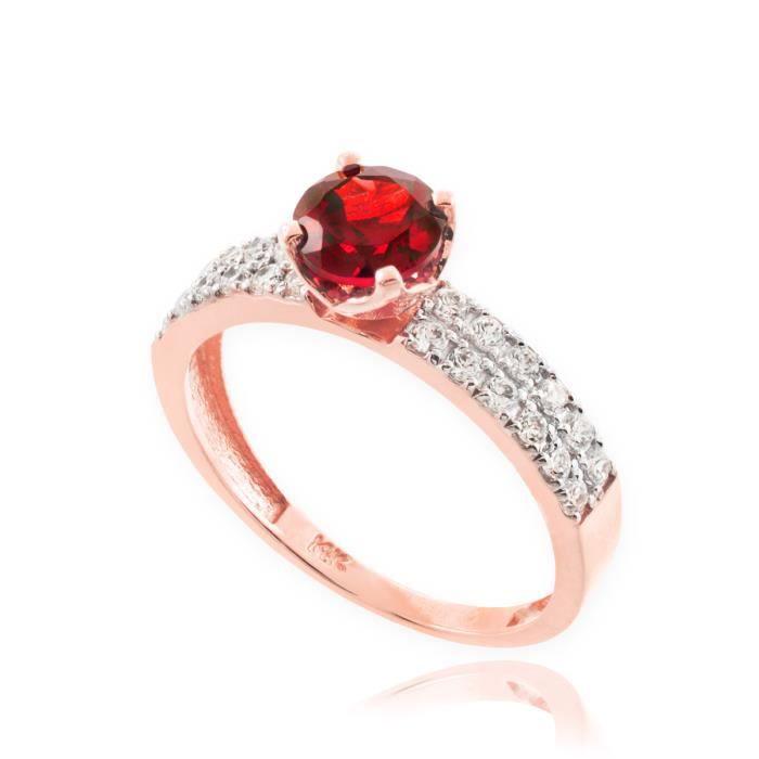 Bague Femme Alliance 10 ct 471/1000 Véritable Rubis Or rose Diamant Pave