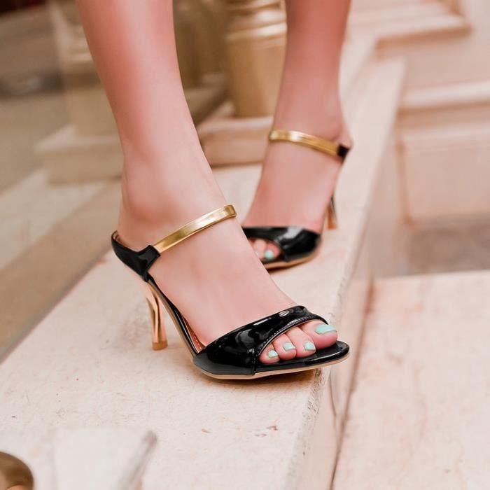 Des sandales Femme Solide Sexy Ouvrir à Noir QuKlfepgNu