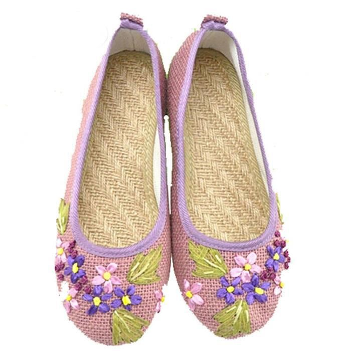 nouveau chausssures ballerines brode et décore style vintage pour femme