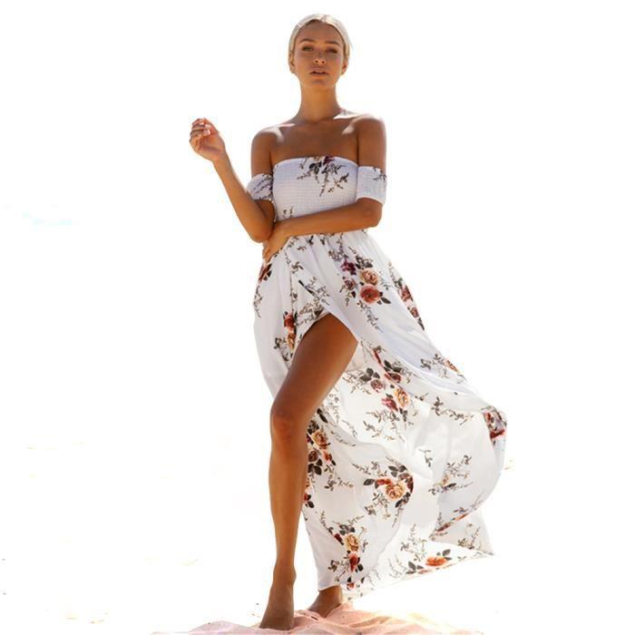 HOOME Femmes Sexy Robe Amincissant Imprimé Fleur épaule Nu ,Manche Court Maxi Robe de plage dété