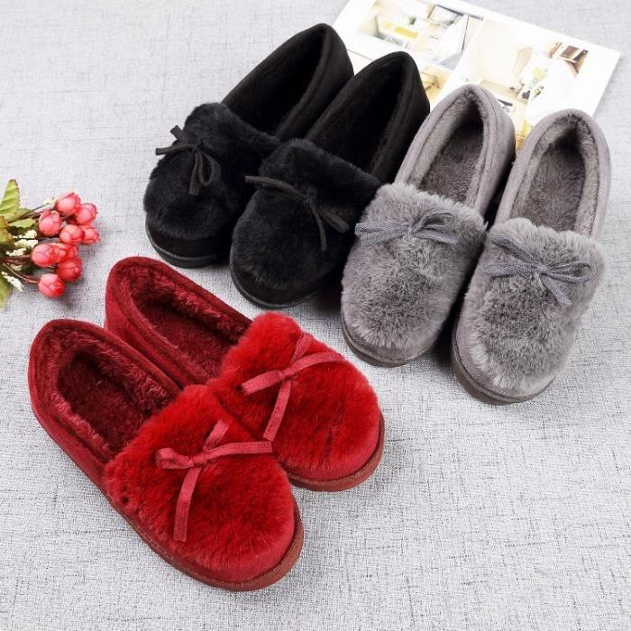 nouveau style Belle sol souple Pantoufles coton chaud femmes d'hiver Pantoufles pantoufles Casual en 3 couleurs,gris,44