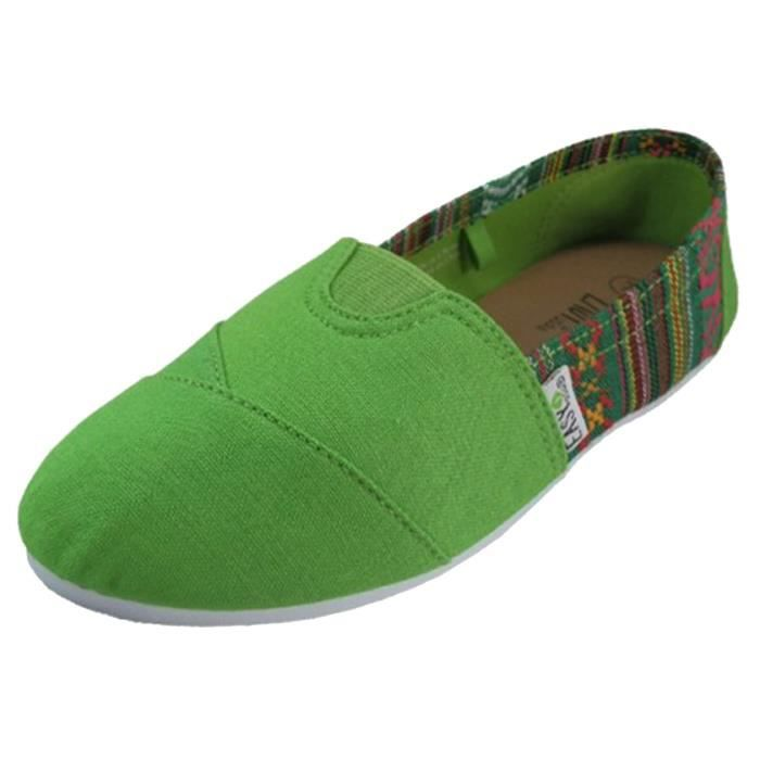 Femmes toile Slip On Chaussures Flats MG1DU Taille-37