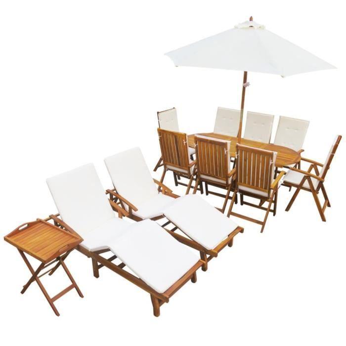 23 pcs Salon de Jardin en Bois d\'acacia Massif 1 table, 8 chaises+ ...