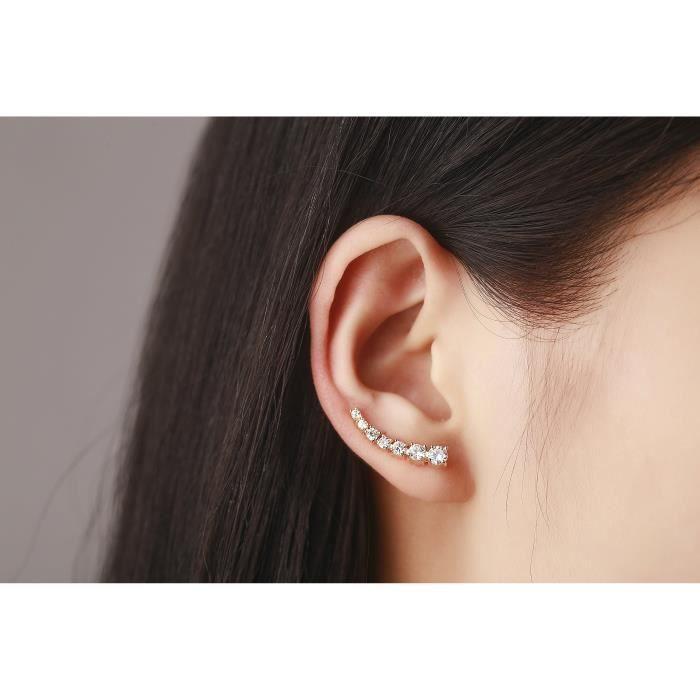 Womens Climbers Cz Crystal Ear Cuffs Hook Earrings 1 Pair XWG5E