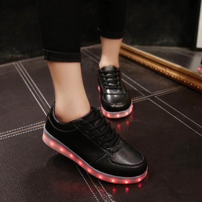Nouveau mode 11 noir chaussures LED USB rechargeable 8 multicolors lumi res