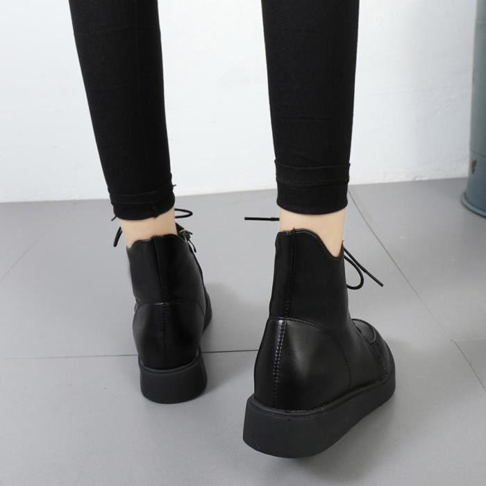 Chaussures imperméables femmes lacent Martin bottes couture plat solide avec des chaussuresNoir WE504 cE03gR