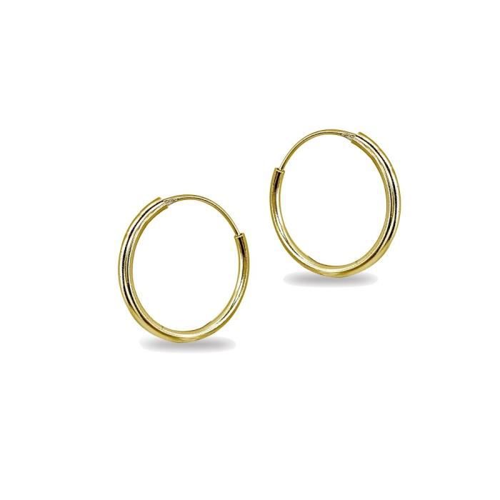 Womens 14k Gold High Polished Continuous Endless Round Hoop Earrings, All Sizes Available S2IZP