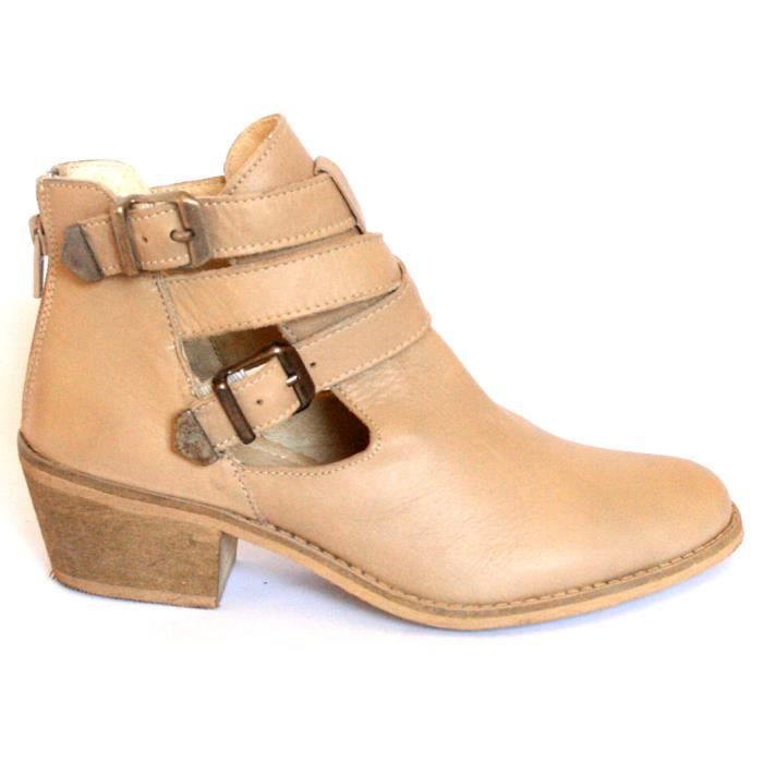 BOTTINES BASSES CUIR BEIGE CHAUSSURES FEMME T41 NEUVES