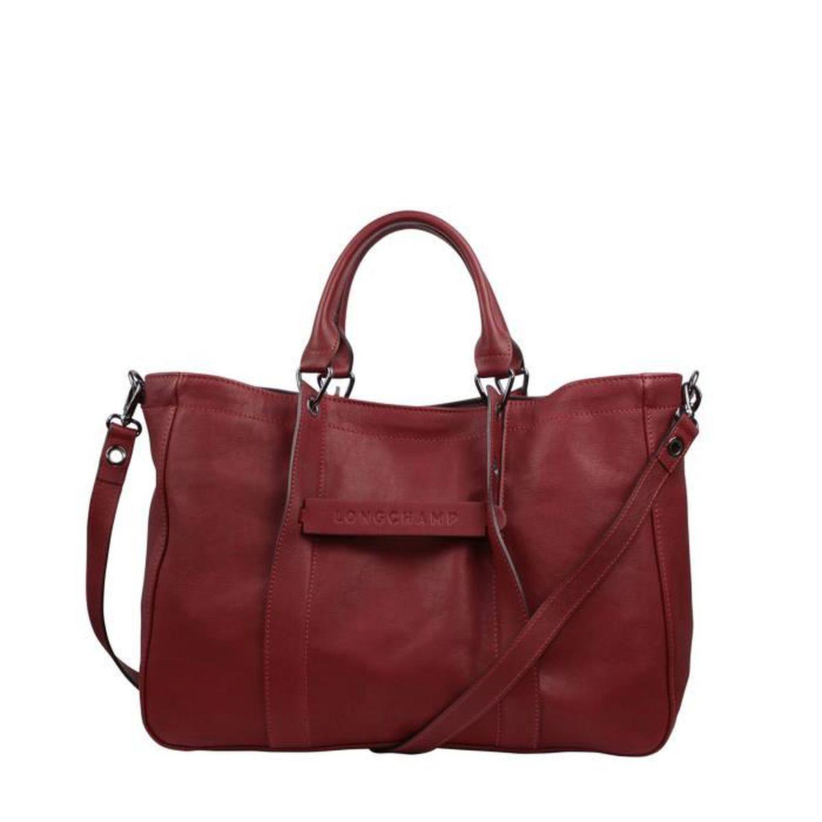 642be110a5954 LONGCHAMP - sac femme porté main et bandoulière en cuir - ROUGE ...