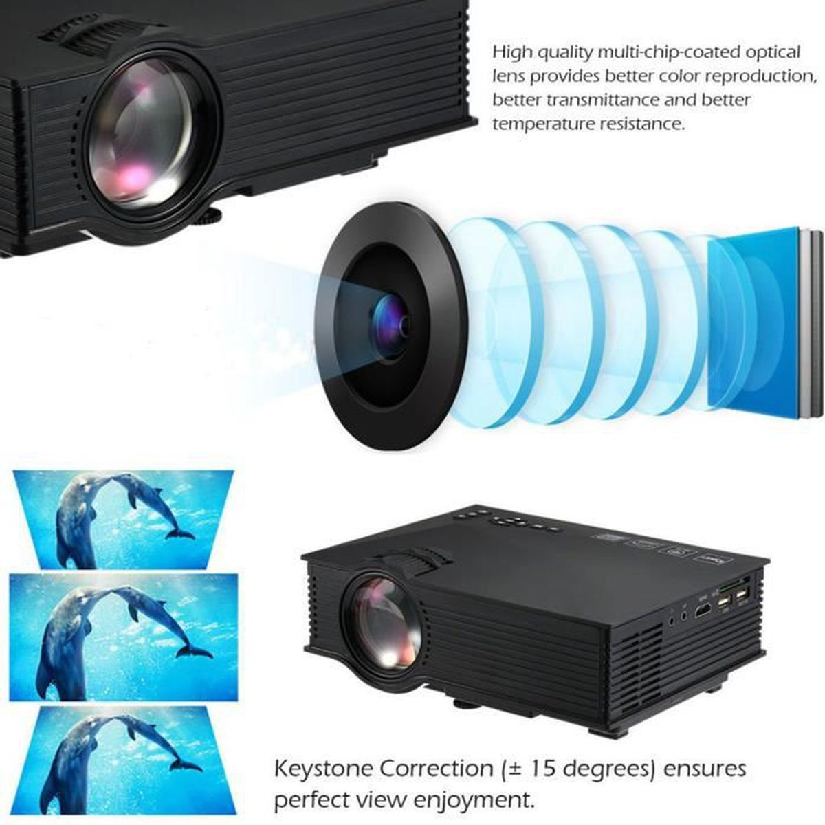 Led Mini 2000 Lumens Projecteur Uc40 Vidoprojecteur Multimdia Unic Uc46 Portable Projector Full Hd 1080p Support Red And Blue 3d Effect With Wifi Connection Vidoprojecte Nom Conduit Hdmi