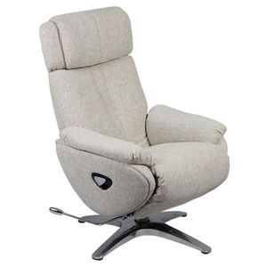 FAUTEUIL Mika - Fauteuil Relax Tissu Beige Repose Pieds Int