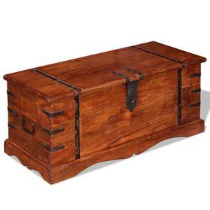 malle coffre bois massif achat vente malle coffre bois massif pas cher cdiscount. Black Bedroom Furniture Sets. Home Design Ideas