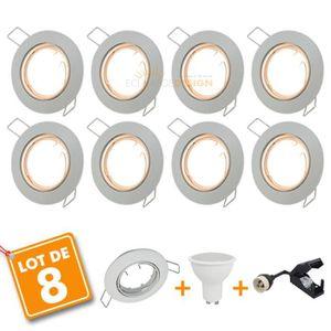 SPOTS - LIGNE DE SPOTS 8 x Spot encastrable orientable complet LED 5W eq