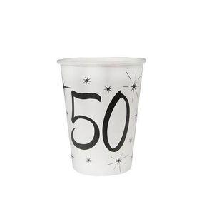 Décors de table Gobelet blanc anniversaire 50ans (x10) REF/5242