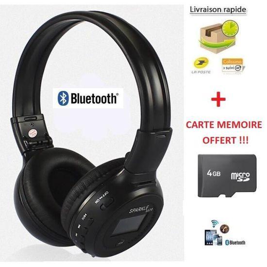 Casque Bluetooth Sans Fil Lecteur Mp3 Intégré Kit Main Libre
