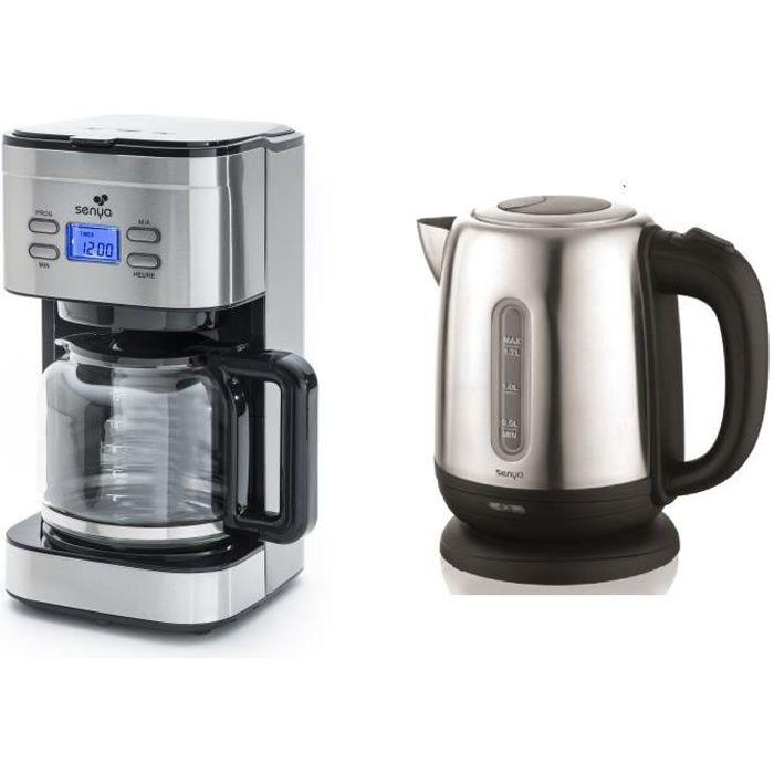 """SENYA Set petit déjeuner """"Cafetière programmable isotherme inox etBouilloire Little tea Inox&q"""