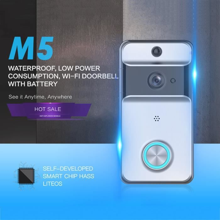720P Smart Video Doorbell HD Cam/éra de s/écurit/é /à Domicile sans Fil Syst/ème dinterphone Domestique avec t/él/écommande Vid/éo en Temps r/éel Conversation bidirectionnelle