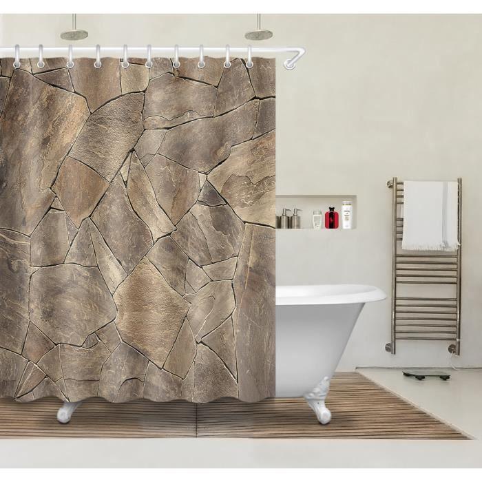 3D 180x180cm Ardoise marron Rideau De Douche Tissu Polyester Avec 12 ...