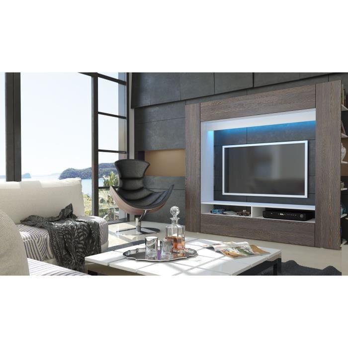 Meuble tv murale blanc et bois weng achat vente for Meuble tv blanc plateau bois