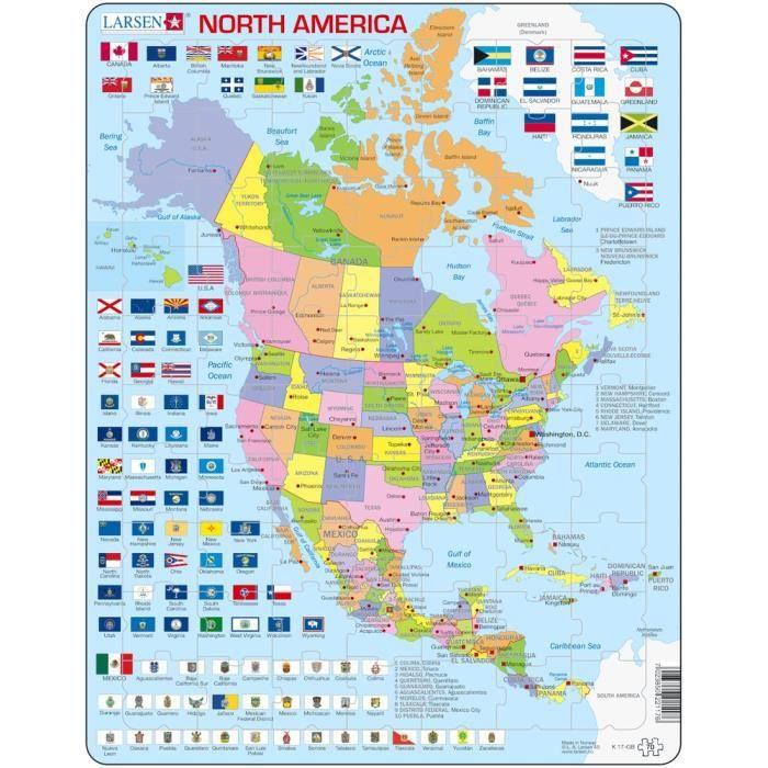 Carte De Lamerique.Puzzle 70 Pieces Puzzle Cadre Carte De L Amerique Du Nord En Anglais