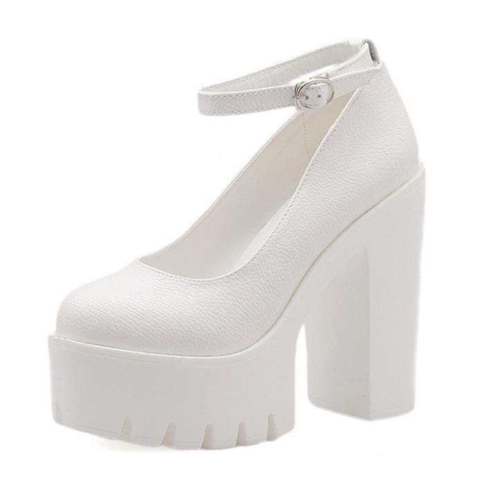 Minetom Femme Casual Couleur Unie Slip On Platform Chaussons Talon Haut Chaussures Wedge Loafer Mocassins Escarpins Pumps