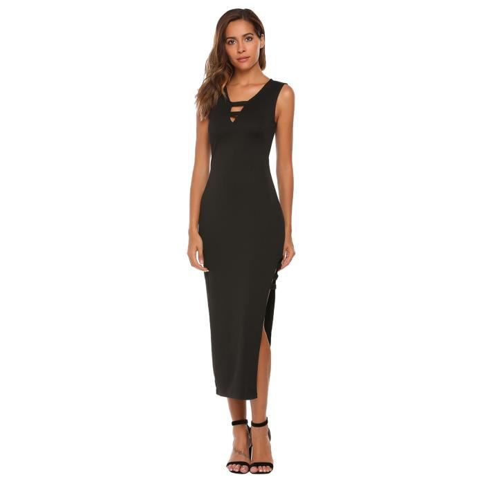 Crayon Robeféminine V Cou sans manches Solid Side Slit Bodycon Slim Mode