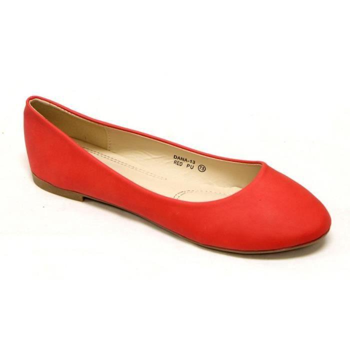 Bella Marie Ballerine classique confortable ronde Slip Flats Toe Shoes sur MFL7G Taille-37