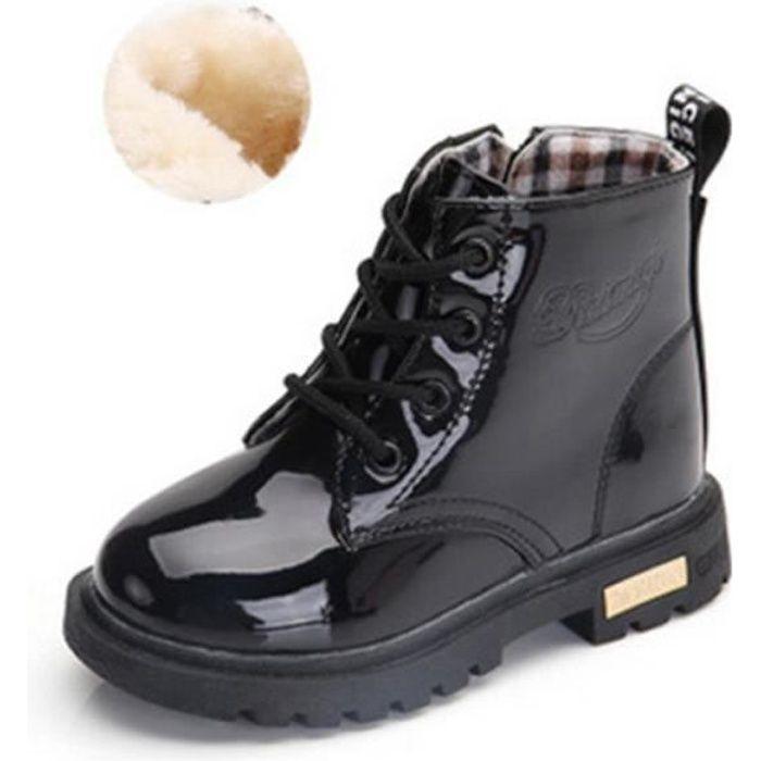 b4aa043dcb3b7 Bottes pour Fille Enfant Lacets Eau Preuve Martin Chaussures Épaisse ...