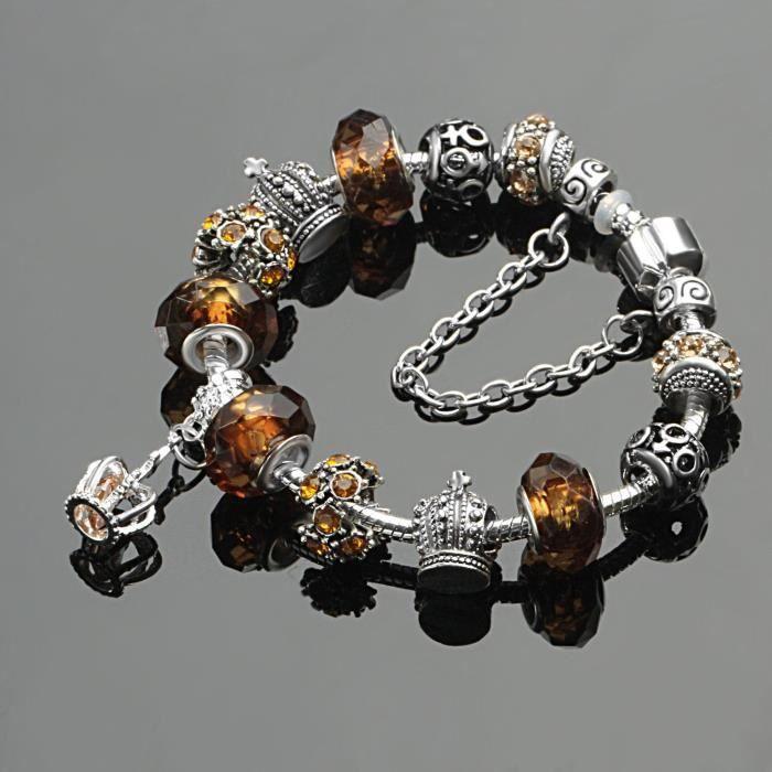 Bracelet Charms Femmes Cristal Verre Brun Couronne Impériale Pendantif Cristal Cadeau