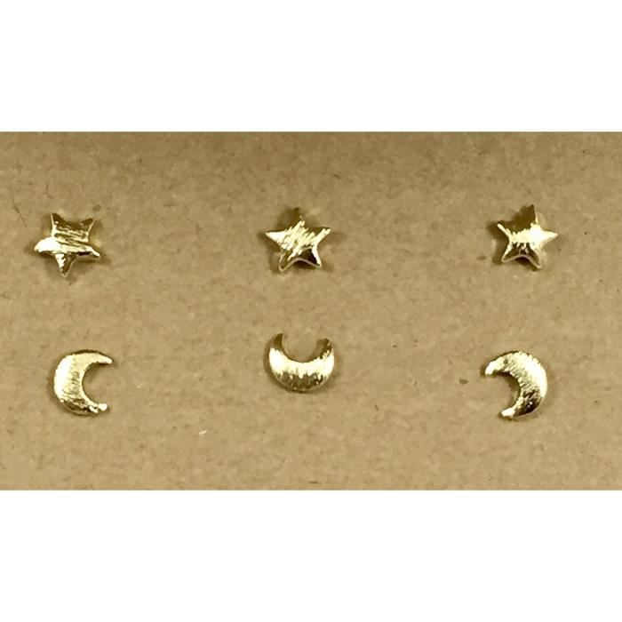 Womens Moons And Stars Celestial Sky Stud Earrings Set | Pairs And Spares By Dorinta H7EBR