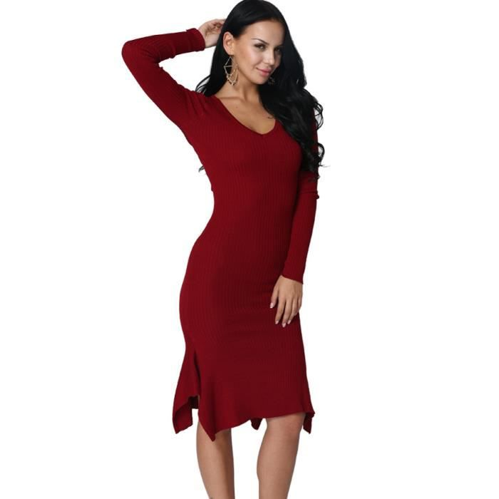 Robe Femmes Mince Sexy Tricot Manche Longue Col V
