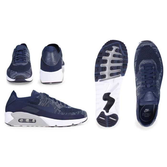 Baskets Nike Air Max 90 Ultra 2.0 Flyknit bleues marine 875943-401.
