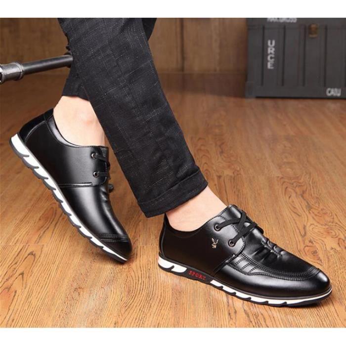 Hommes Mocassins respirent des chaussures en cuir de mode lacent Hommes Printemps Eté Mode Respirant Chaussures Décontractées IZBeChK6I
