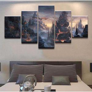 TABLEAU - TOILE Toile sans cadre Peinture 5 pièces imprimées image