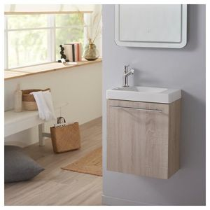 MEUBLE VASQUE - PLAN Pack Lave mains complet chêne blanchi caledonia +