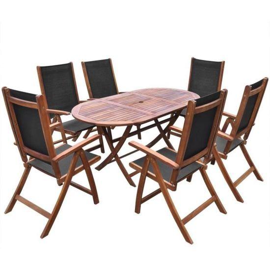 Magnifique Ensemble de mobilier de jardin 9 pieces Bois d\'acacia ...