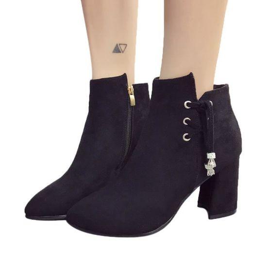 Femmes Bottes Chaussures Casual Martin Bottes Bottines en daim à talons haut Zipper Boot Noir Noir - Achat / Vente botte
