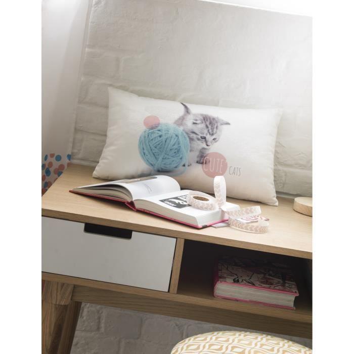 TODAY Coussin déco enfant velours Cute Cat 30x50 cm rose, blanc et bleu