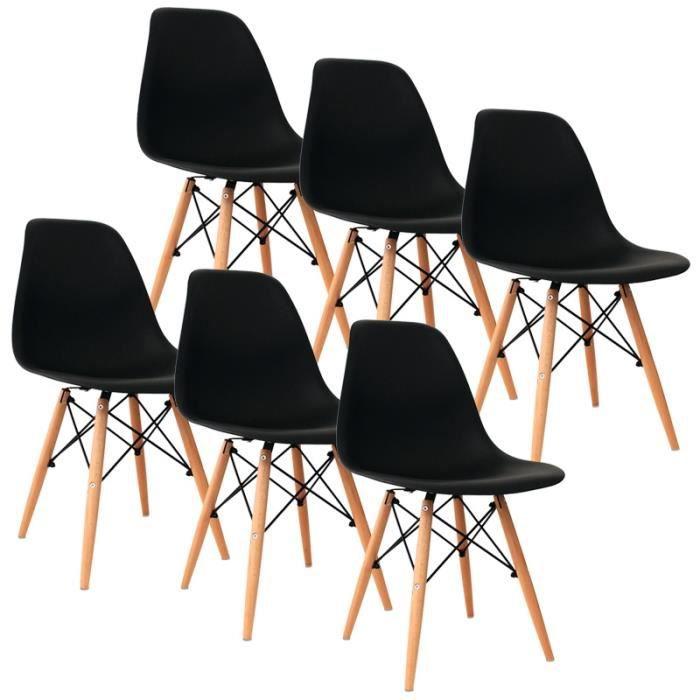 Lot De 6 Chaises Noir Design Avec 4 Pieds En Bois