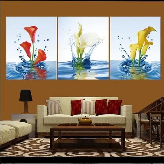 3 Pièces Non Encadrées Calla Eau Moderne Peinture Murale Art Toile Tableau Imprimé Pour Salon Maison Décor