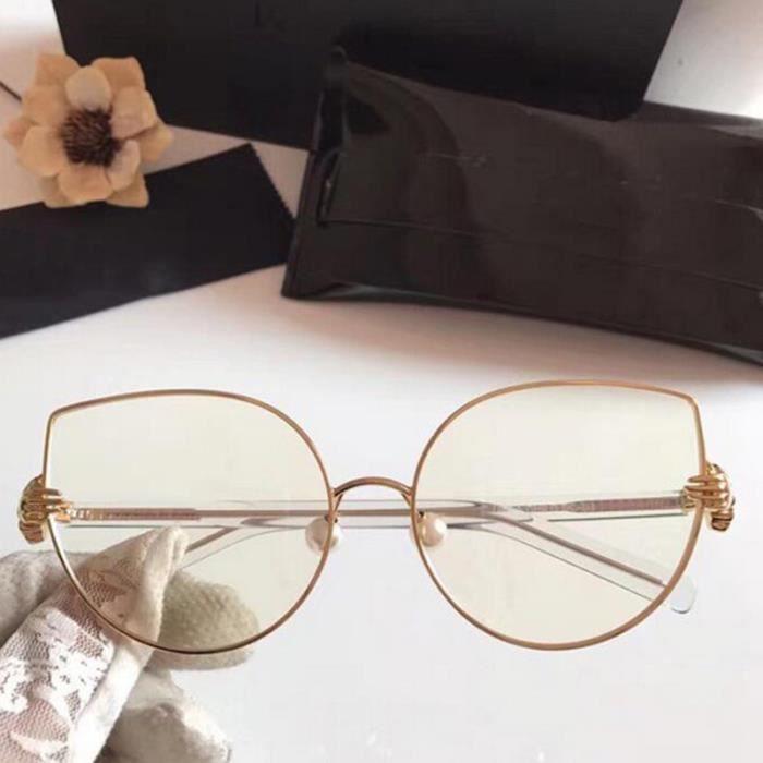 afd6dc6ff538bd oeil de chat RBUDDY femmes Lunettes à Hipster Shand objectif clair lunettes  cadre en métal transparent