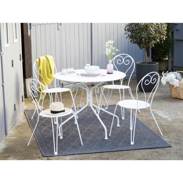 salon de jardin 4 places table ronde en acier avec chaises agatha blanc mat