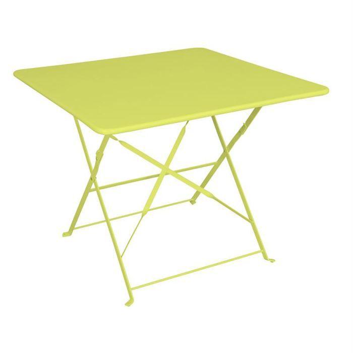 Table carrée CAMARGUE verte pliante 90x90x71 cm - Achat / Vente ...