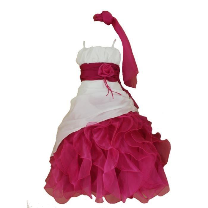 robe ivoire et fushia fille anou rose achat vente robe de c r monie cdiscount. Black Bedroom Furniture Sets. Home Design Ideas