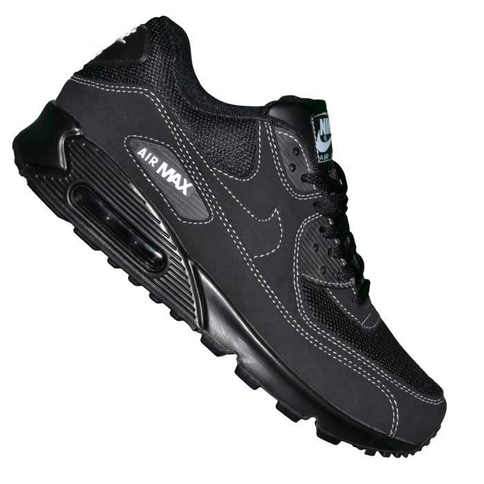 Nike Basket Homme Air Max 90 100 Noir Coutures Blanches