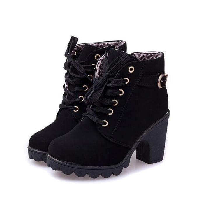 Solide Cheville Qualit Femmes Chaussures D'hiver Mode Pu Dentelle Femme Dames Haute Bottes up RpAURq